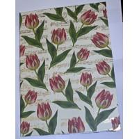 Carnet artisanal Papier Tulipes rouges et Partitions dorées