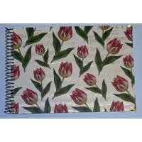 Grand Livre d'Or artisanal à spirales Tulipes et Partitions dorées