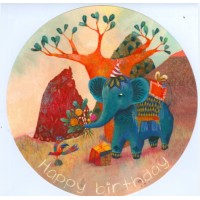 Carte ronde Izou L'Elephant bleu Happy Birthday