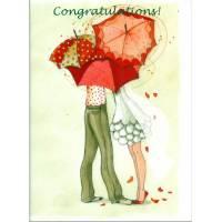 Carte double Anne-Soline Sintès Congratulations les Parapluies