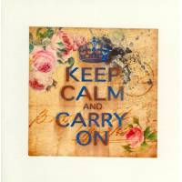 "Carte ""Keep Calm and Carry on"" Rétro Bouquet de Roses"