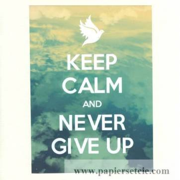 "Carte ""Keep Calm and Never Give Up"""