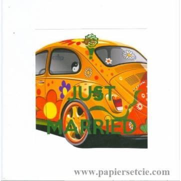 "Carte ""Just married VW colorée"""