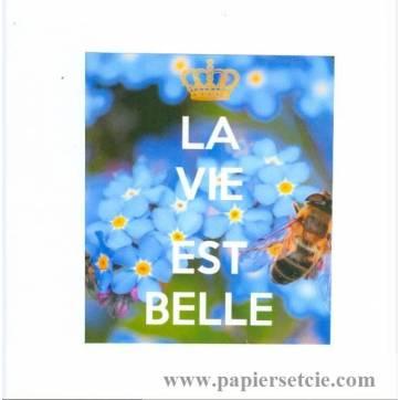 """Carte """"La vie est belle, Abeille et Myosotis"""""""