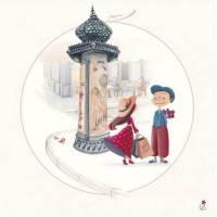 """Carte Marie Cardouat Les petits Parisiens """"Colonne Morris"""""""