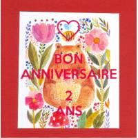 Carte double carrée Bon Anniversaire Deux Ans Ourson rouge