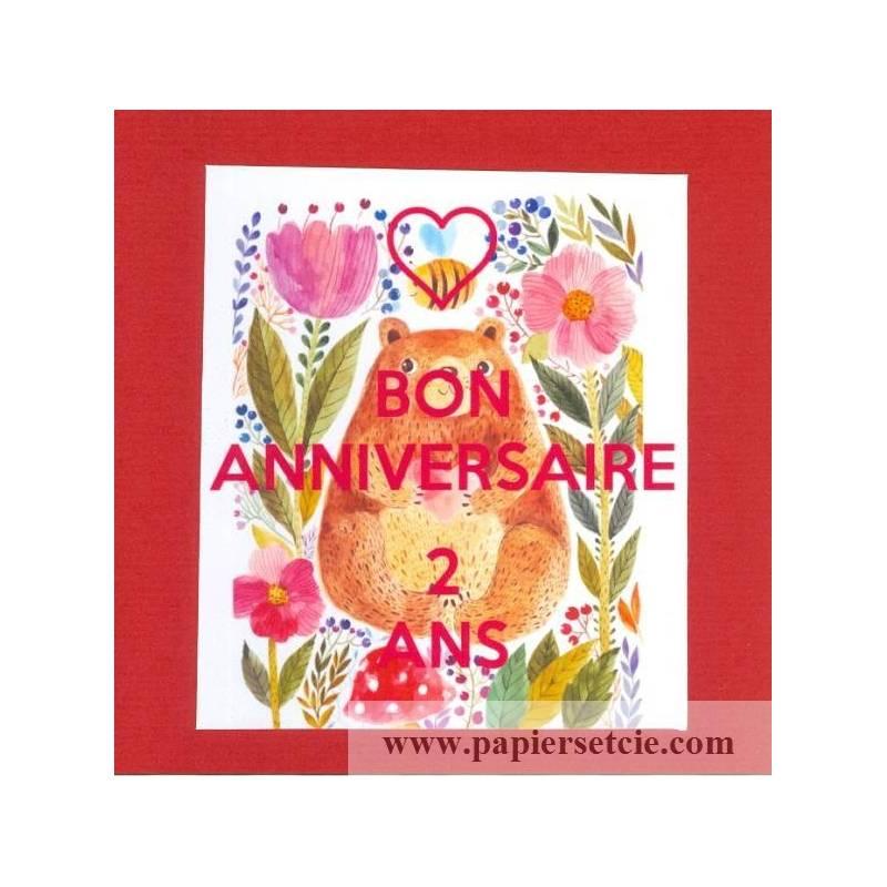 Carte Anniversaire Ourson.Carte Artisanale Bon Anniversaire Deux Ans Ourson Rouge