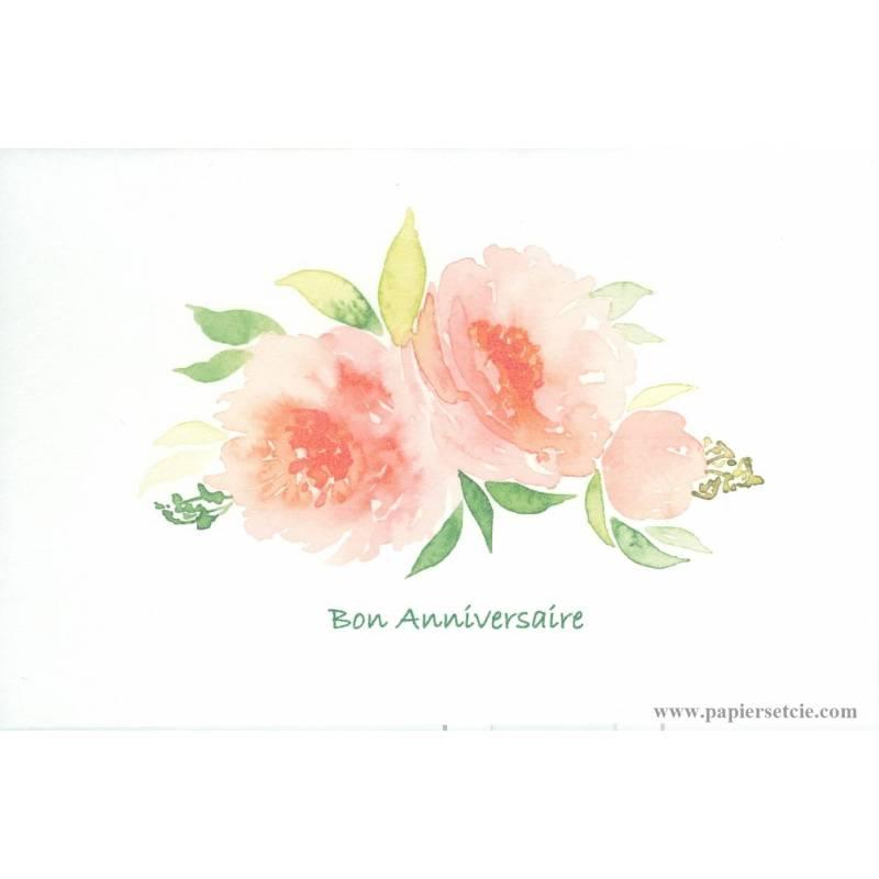 "Turbo aquarelle ""Bon Anniversaire"" Fleurs pêches GB32"