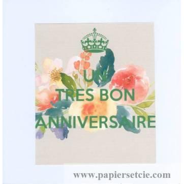 """Carte KC """"Un Très bon Anniversaire"""" Fleurs roses"""