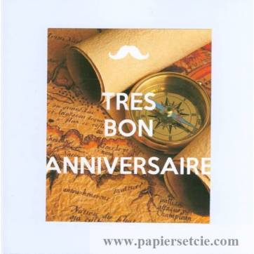 Carte Kc Un Tres Bon Anniversaire Boussole Et Vieille Carte