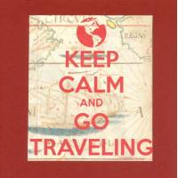 "Carte ""Keep Calm and go traveling"" couleur brique"