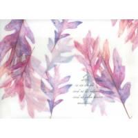 Enveloppe cadeau papier calque imprimé feuilles roses