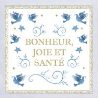 Carte double Bonheur, Joie et Santé Colombes bleues