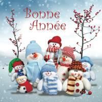 Carte double Bonne Année Famille Bonhomme de neige
