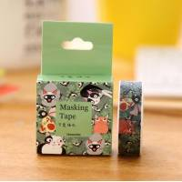 Masking Tape Washi Tape Chats amusants fond vert