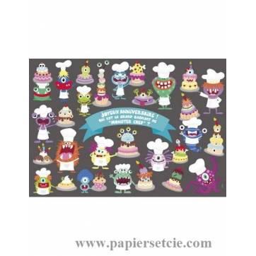"""Carte Lali """"Joyeux Anniversaire Monster Chef"""""""