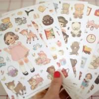 Stickers pour scrapbooking 6 feuilles Paper Doll rétros