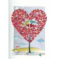 Carte découpée au laser Oiseaux amoureux dans l'arbre à coeurs
