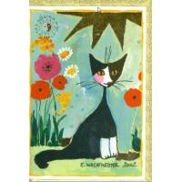 Carte double Rosina Wachtmeister Chat et  Coquelicots