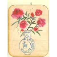 Carte en bois véritable, impression Bouquet Japonais