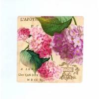 Carte artisanale double carrée shabby chic hortensia