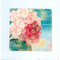 Carte artisanale double carrée shabby chic hortensia rose