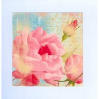 Carte artisanale double carrée shabby chic Rose rose