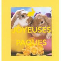 Carte double carrée Joyeuses Pâques Lapin fond jaune