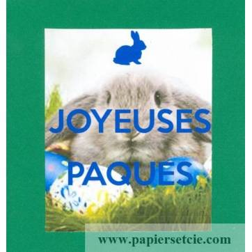 Carte double carrée Joyeuses Pâques Lapin fond vert