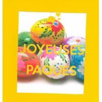 Carte double carrée Joyeuses Pâques Oeufs à fleurs