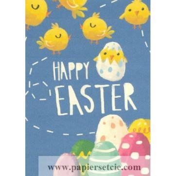 Carte artisanale simple Joyeuses Pâques Poussins