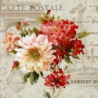 Carte vintage Lisa Audit Bouquet rose et rouge