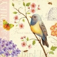 Carte vintage Daphné Brissonnet Oiseau bleu et Fleurs