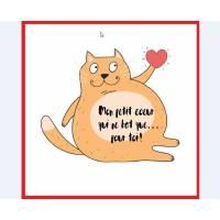 """Carte artisanale simple Chat roux 'Mon petit coeur..."""""""