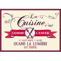 """Carte Humour Vintage """"La cuisine c'est comme l'enfer""""..."""