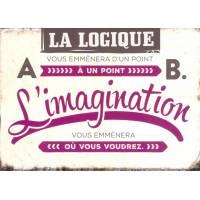 """Carte Humour Vintage """"La logique vous emmènera d'un point A à un point B"""""""