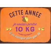 """Carte Humour Vintage """"Cette année je voulais perdre 10 Kg..."""""""