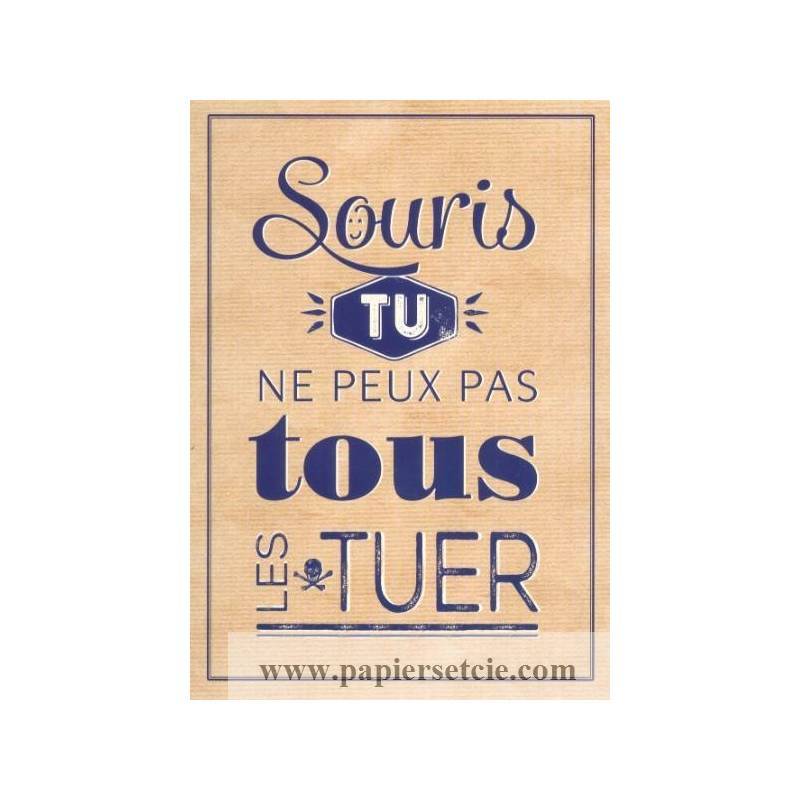 carte citation humour vintage souris tu ne peux pas tous les tuer. Black Bedroom Furniture Sets. Home Design Ideas