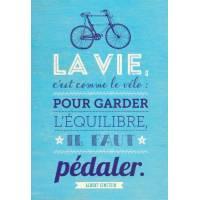 """Carte Citation Humour Vintage """"La vie, c'est comme le vélo..."""""""
