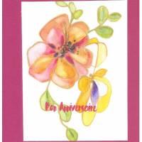 Carte double carrée artisanale Bon Anniversaire Aquarelle Fleur rose fond fushia