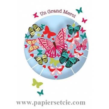 Carte découpée au laser Un Grand Merci Les Papillons