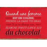 """Carte Citation Humour Vintage """"Quand une femme est en colère..."""" fond rouge"""