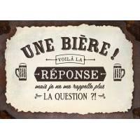 """Carte Citation Humour Vintage """"Une Bière! voilà la réponse, mais je ne me rapppelle plus de la question?!"""