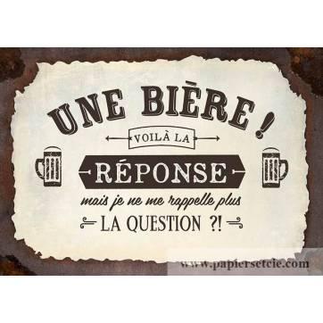 """Carte Humour Vintage """"Une Bière! voilà la réponse, mais je ne me rapppelle plus de la question?!"""""""
