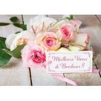 """Carte Félicitations Mariage """"Meilleurs Voeux de Bonheur"""""""