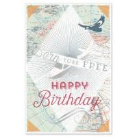 Carte double Happy Birthday Avion et Vieille carte
