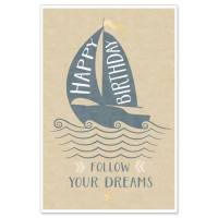 "Carte double Happy Birthday ""Follow your dreams"""