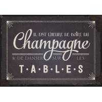"""Carte Humour Vintage """" Il est l'heure de boire du Champagne et de danser sur les tables."""""""