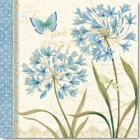 Carte vintage Daphné Brissonnet Agapanthes et Papillon