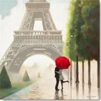 Carte vintage Marco Fabiano Paris Romance et Parapluie rouge